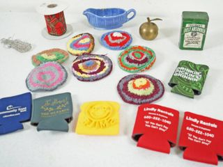 lot of Misc  Items  Vintage Tin Can  Freeman s Dust Absorber  Christmas Ribbon  More  See Photos