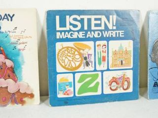 lot of 3 Vintage 12  Record Albums   My Birthday Record  listen  Imagine and Write  Witches Brew