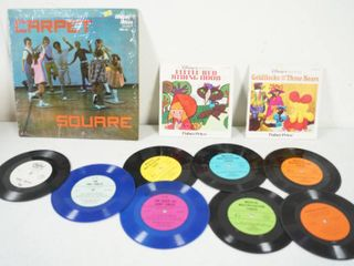 Vintage Records  12  Carpet Square  7  Records  45 s  little Red Riding    Goldilocks and The Three Bears  and More  See Photos