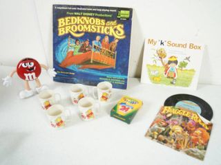 lot of Misc  Vintage Goodies  Records  Winnie the Pooh Children s Plastic Cups  and More  See Photos
