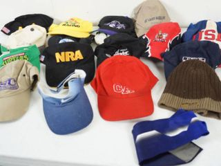 lot of 18 Hats  and 1 Tie  See Photos