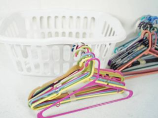 lot of Hangers  3 White Trash Cans  and laundry Basket  See Photos