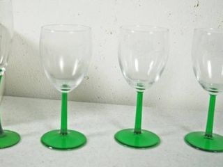 lot of 4 Green Footed  luminarc  Wine Glasses