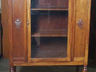 Vintage Wood Curio Cabinet  58  Tall  15  Deep  37  Wide