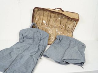 2 Grey Foldable Hanging Bags  and 1 Brown Shoe Bag  Great For Storage