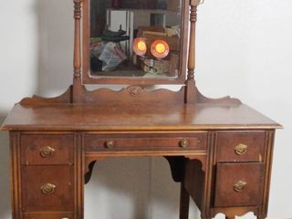 Vintage Wood Dresser Vanity   68  Tall to the Top of the Mirror  18  Deep  46  Wide    ABlRNATHY Furniture Co