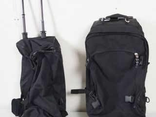 2 Black Duffle Bags w Handle and Wheels
