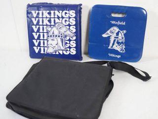 2 Bleacher Cushions and a Black Note Book Caring Bag