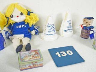 lot of Misc  Items   Cheerleading Doll  Graduation Coffee Mug  etc