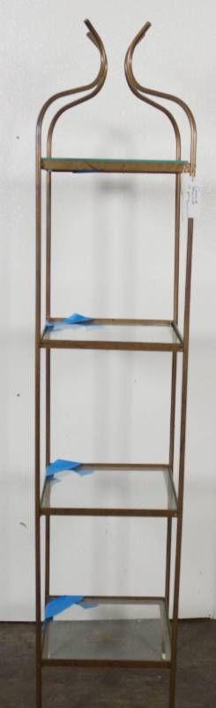 Art Deco Style Metal Curio Stand w  4 Glass Shelves