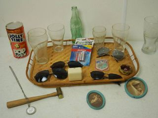 lot of Misc  Items   Cool Sunglasses  Vintage Coke Bottle   Glasses  Vintage Music Box  Made in Switzerland  Vintage Sm  Pictures w  Frames  and More