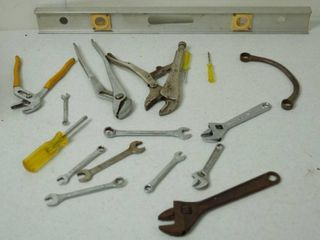 lot of Tools   leveler  Wrenches  Screwdrivers  and More