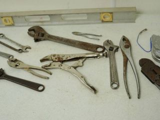 lot of Tools   leveler  Wrenches  and More