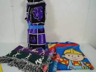 K State Material  Bob The Builder Twin Blanket  and a Beautiful Afghan Blanket