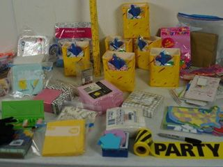 lot of PARTY Items   Napkins  Bags  Plastic Sunglasses  and More