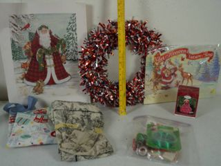 lot of Christmas Items   1973 1998 Hallmark Collectors Barbie Ornament  Ribbon   More  See Photos