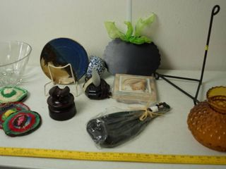 lot of Home Decor    Cool Plate w  Stand  Vintage Telephone Insulator  Vintage Globe  and More