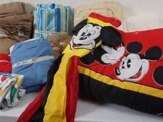 lot of Bedding   Queen Sheets  Pillow Cases  Twin Sheets  and Mickey Mouse Twin Comforter