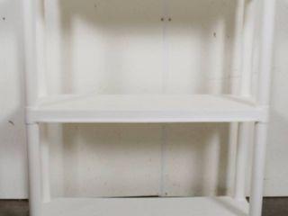 White Plastic Shelf  29 1 2  Wide   32 1 2  Tall