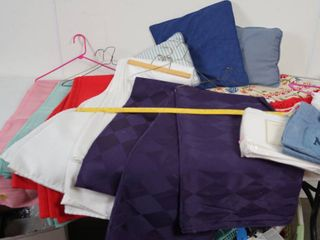 lot of Table Cloths    Pillows  See Photos