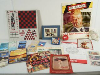 lot of Vintage Coke Cola Item   Maps   Max Headroom McDonald s Poster  3 Post Cards and lots lots More
