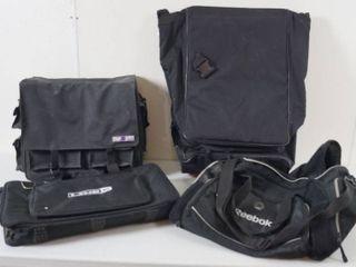 lot of 4 Black Bags    1  Crop in Style   2  Datrek   3  line 6     4  Reebok