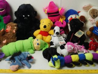 lot of Stuff Animals   Barney  Glo Worm  Chick fil a Cow  and lots More
