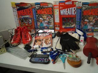 lot of Misc  Items   Wheaties Collector Boxes  Gloves  Scissors  and lots More  See Photos