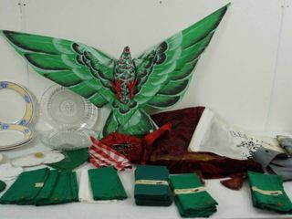 lot of Vintage Plates and Material Napkins  and More  See Photos