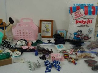 lot of Misc  Items   Hair Bow Ties    Poly fil   More  See Photos