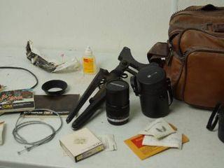 Vintage Camera Items   w  leather Bag   lense  Tri pod    More