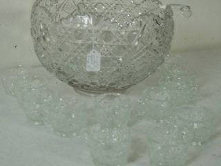 Glass Punch Bowl   1 ladel w  12 Glass Cups