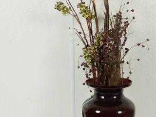 Very Beautiful Red Vase w  Beautiful Flower Arrangement