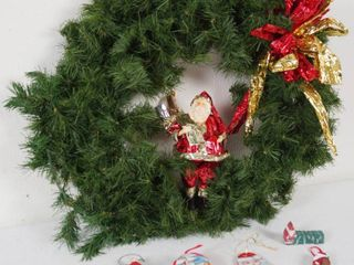 Christmas Wreath  and lot of Ornaments
