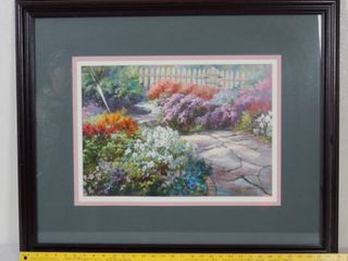 Beautiful Framed  Wall Hanging Picture   Garden Scene