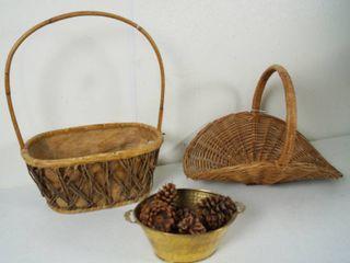 lot of Nice Wood Baskets and 1 Metal Basket