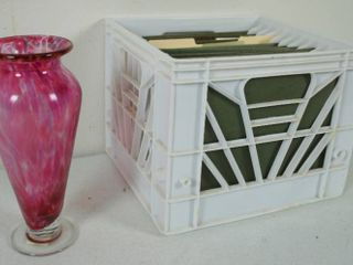 Beautiful Redish Clear Vase  and Home Office Files w Holder
