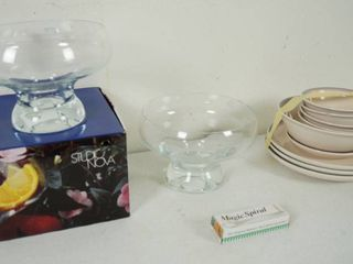 lot of 2 Footed Serving Bowls  8 5  one w Original Box and a lot of Plates and Bowl    a Magic Spiral  for Veg  Decor
