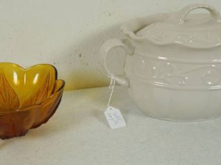 Vintage Amber Colored Bowl  and Celebrating Home White Stone Ware Bean Pot   Covered Casserole   WOW