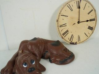 Ceramic Brown Spotted Dog  and a Wooden Wall Clock
