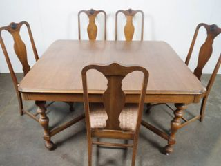 Vintage Wood Table w  6 Chairs  1 is Arm Chair  with 5 Table leaves  53 x44  See Photos   VERY VERSATIlE