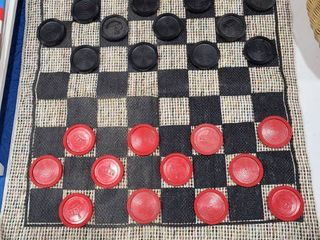 Commemorative Quarter Collection  fabric two sided checkers   tic tac toe game with basket included