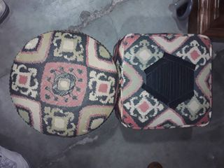 2 Matching Small Sized Ottomans with Extra Material for making Matching Pillows or for Reupholstering