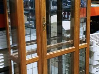 Wood and glass 4 shelf china cabinet 75 x 43 x 14 in with top lighting