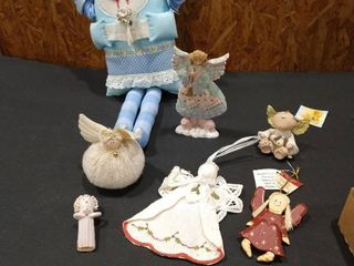 Angel stuffed doll  ornament  and assorted figurines
