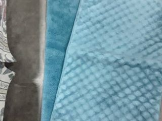 Teal colored bath rug and bath mat  Approximately 32 34in  long