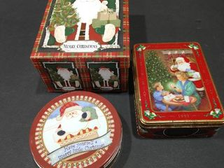 Santa Claus themed box and tin containers