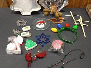 Christmas tree shaped baking pan  snowflake shaped tray  assorted Christmas soaps and more