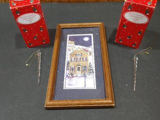 Icicle ornaments and Christmas framed art