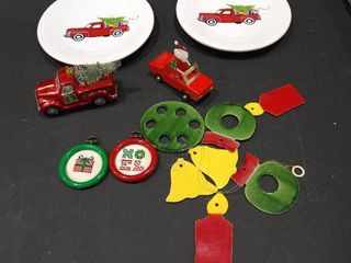 Christmas decoration plates  truck with tree ornament  truck with Santa Claus and more decor